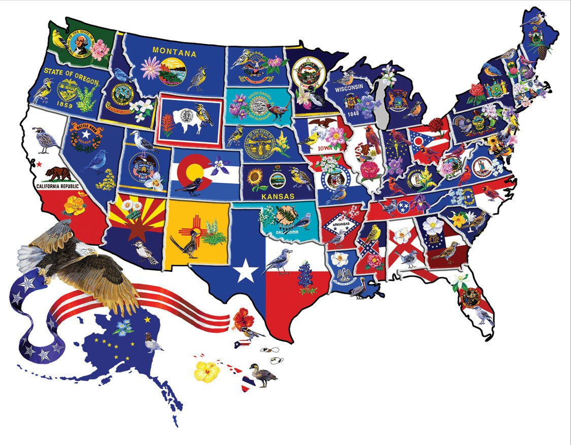 America the Beautiful - 600pc Shape Jigsaw Puzzle by SunsOut