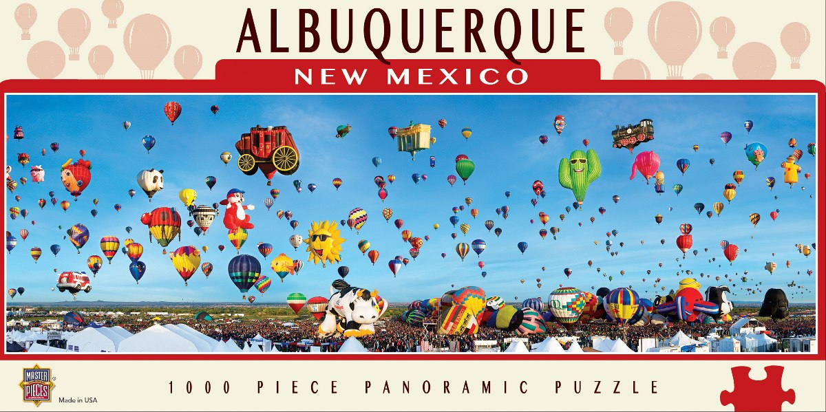 Cityscape: Albuquerque Balloons - 1000pc Panoramic Jigsaw Puzzle By Masterpieces