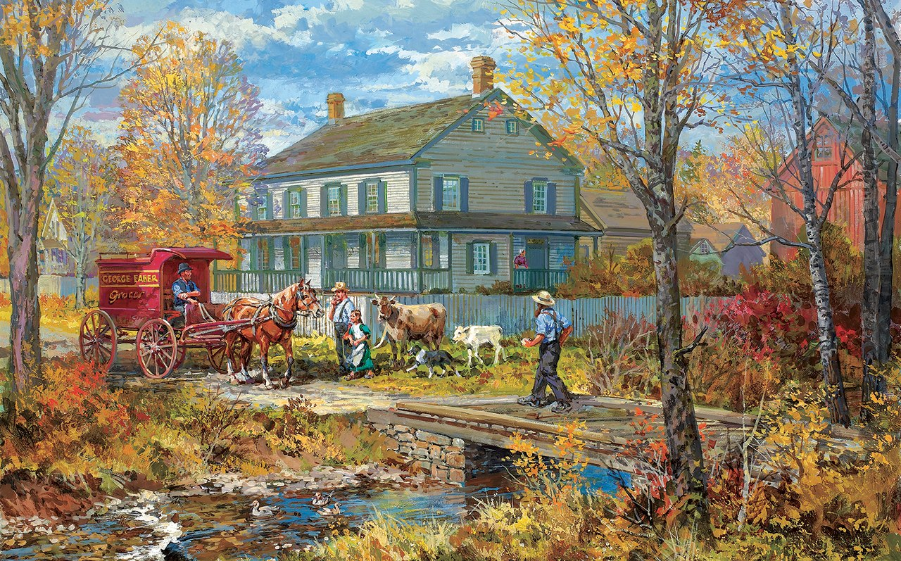 Autumn at the Schneider House - 300pc Jigsaw Puzzle by Sunsout  			  					NEW
