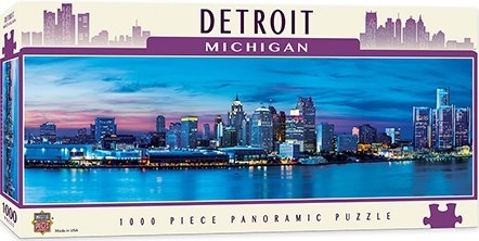 Cityscape: Detroit - 1000pc Panoramic Jigsaw Puzzle By Masterpieces