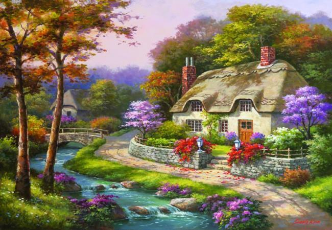Spring Cottage - 500pc Jigsaw Puzzle by Anatolian