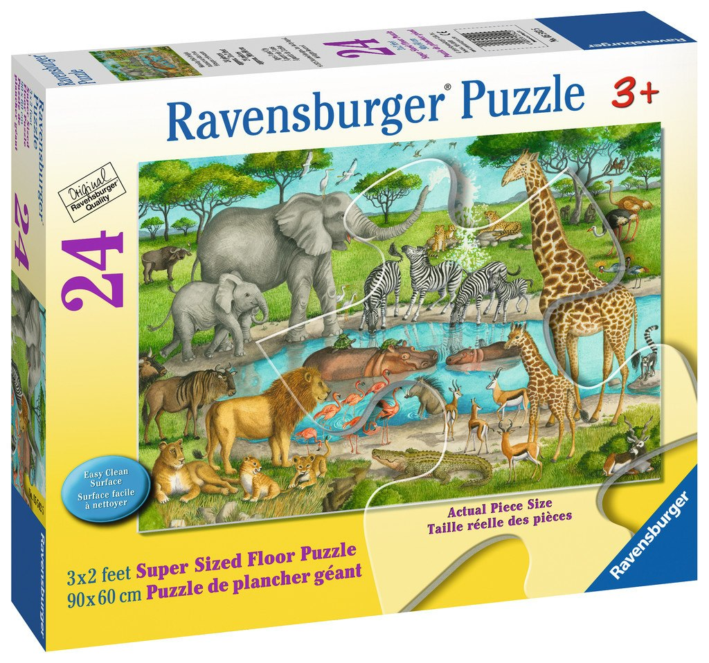 Watering Hole Delight - 24pc Floor Jigsaw Puzzle By Ravensburger  			  					NEW