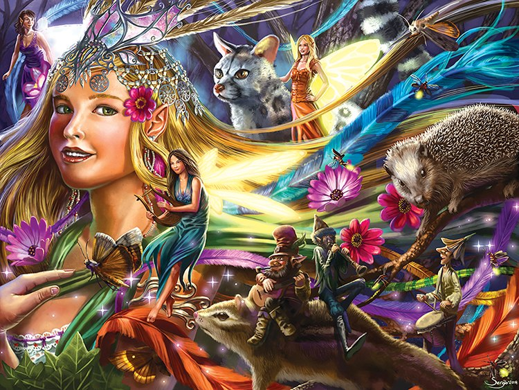 Queen of the Night Fairies - 750pc Jigsaw Puzzle by Lafayette Puzzle Factory