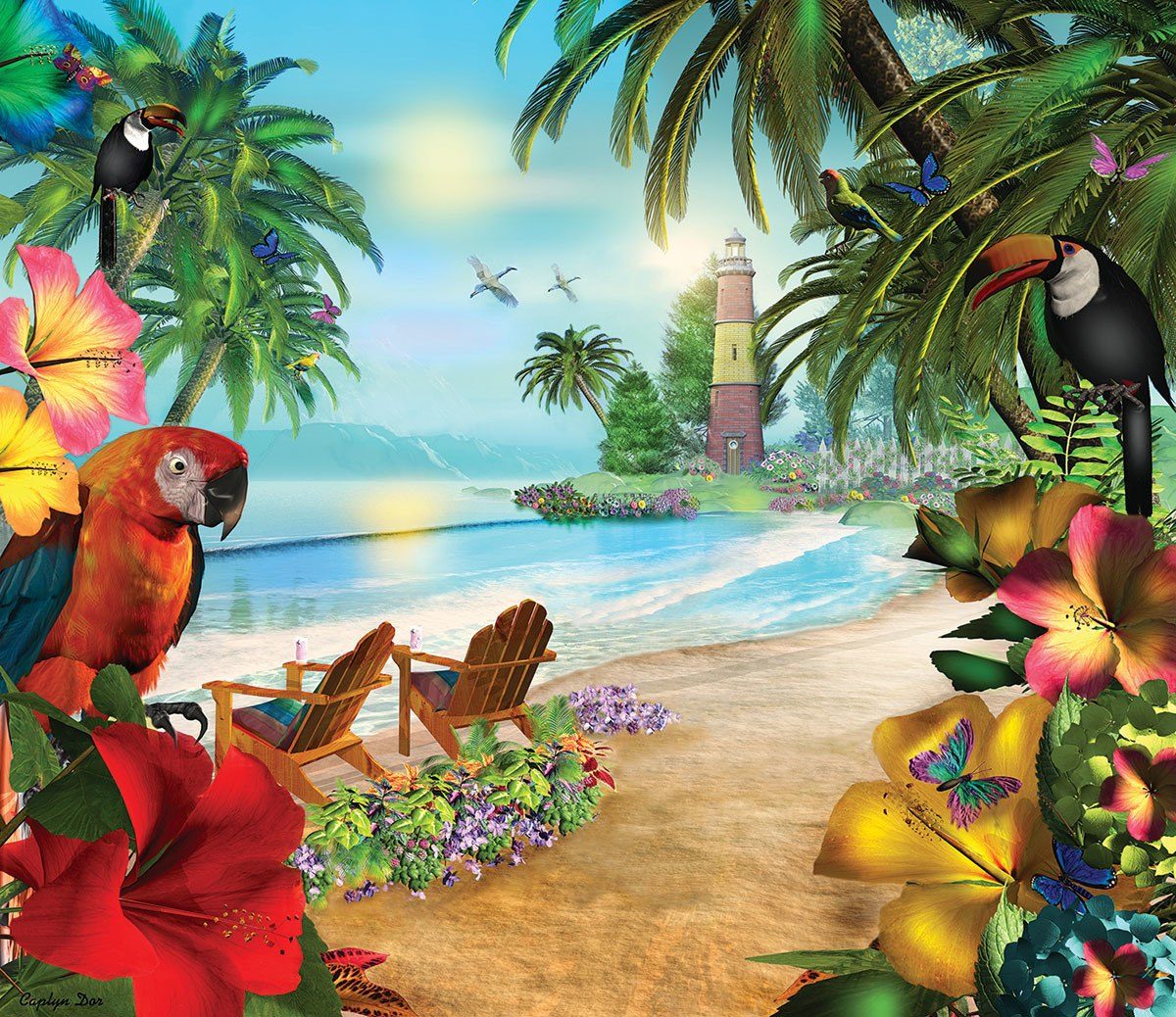 Island of Palms - 550pc Jigsaw Puzzle By Sunsout  			  					NEW