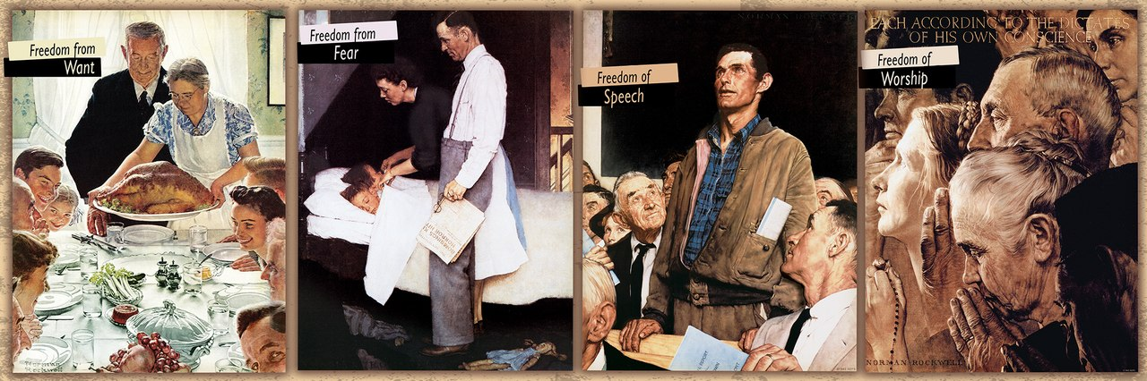 Saturday Evening Post Norman Rockwell: The Four Freedoms - 1000pc Panoramic Jigsaw Puzzle by Masterpieces  			  					NEW