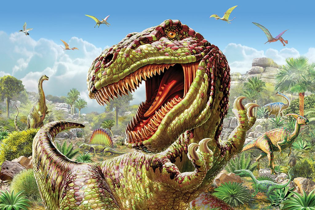 T-Rex and Dinosaurs - 60pc Jigsaw Puzzle By White Mountain
