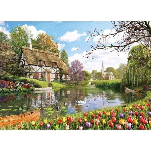 Picture Perfect II: Tulip Garden Cottage - 1000pc Jigsaw Puzzle by Holdson  			  					NEW