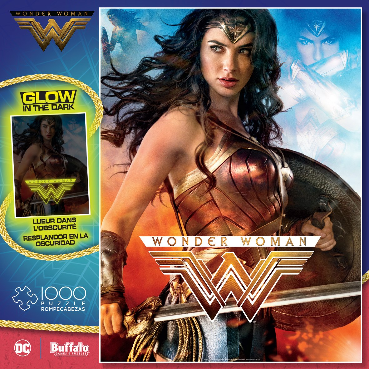 Wonder Woman - 1000pc Glow-in-the-Dark Jigsaw Puzzle By Buffalo Games - image 1