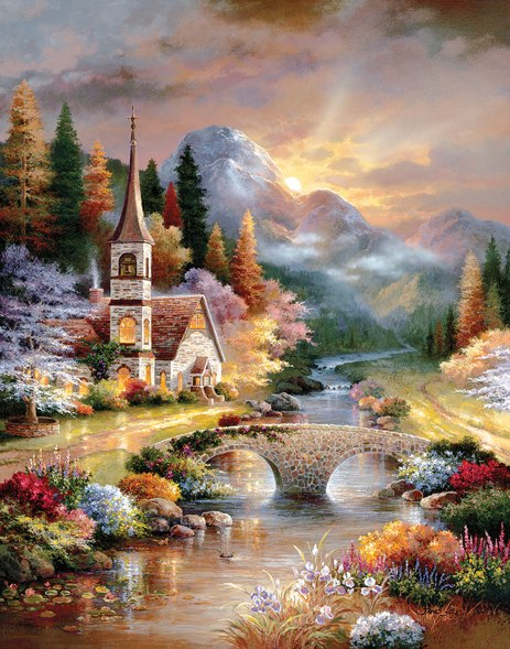 A Country Evening Service - 1000pc Large Format Jigsaw Puzzle By Sunsout
