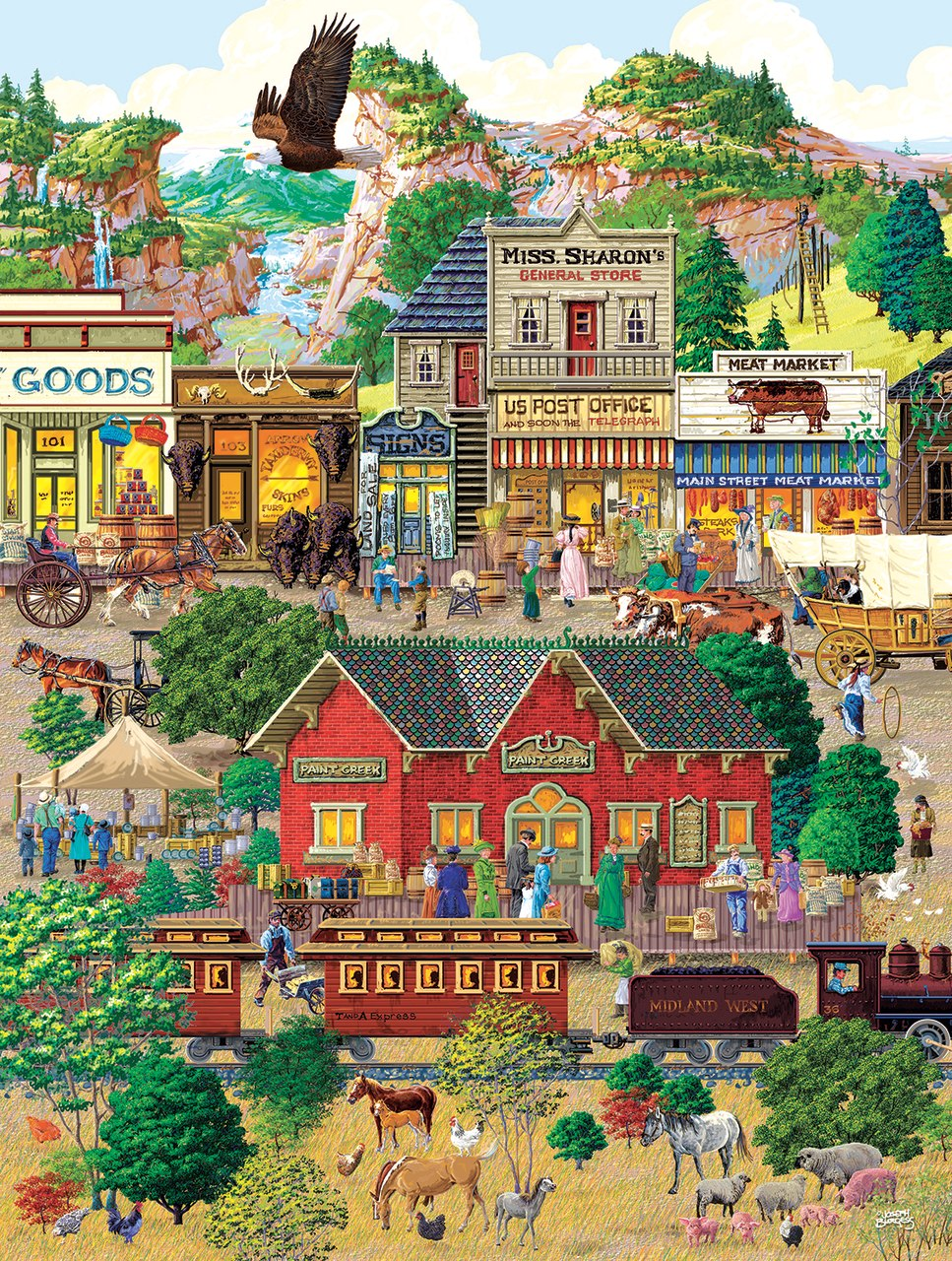 Western Town - 500+pc Jigsaw Puzzle By Sunsout  			  					NEW