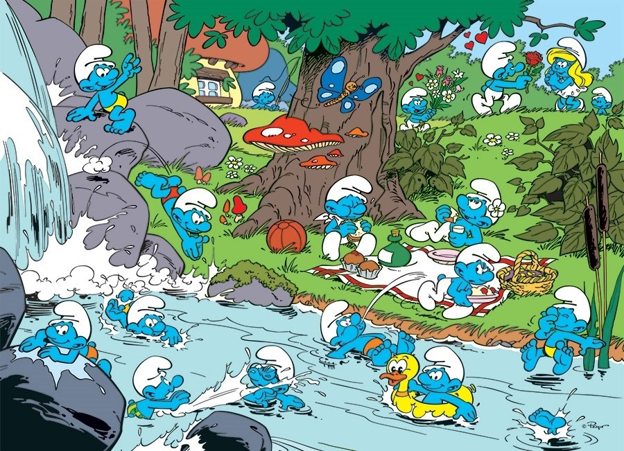 The Smurfs: Smurfy Picnic - 350pc Family Jigsaw Puzzle by Cobble Hill