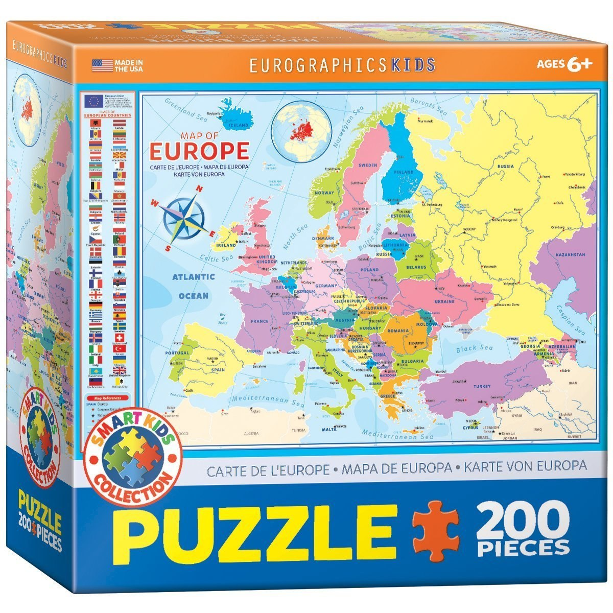 Map of Europe - 200pc Jigsaw Puzzle by Eurographics  			  					NEW