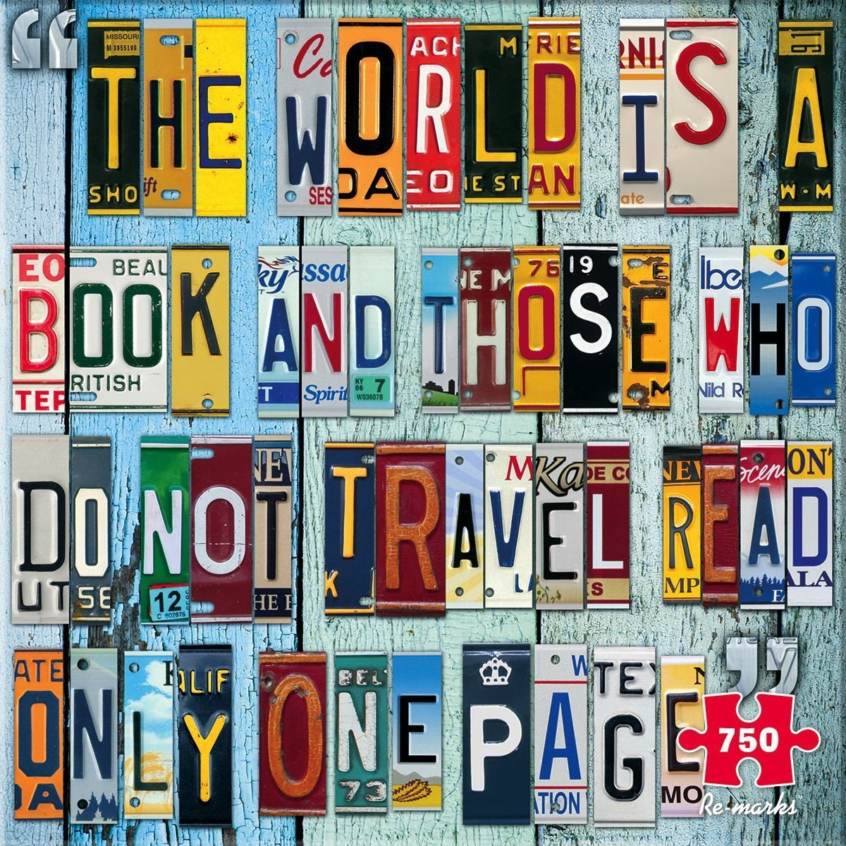 License Plate - 750pc Jigsaw Puzzle By Re-marks  			  					NEW