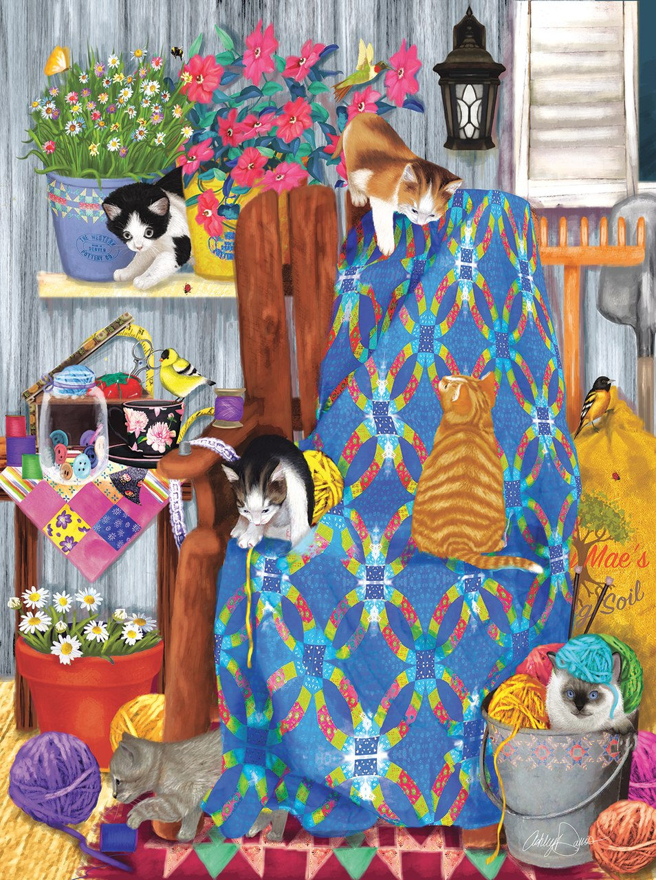 Porch Kittens - 1000pc Jigsaw Puzzle by Sunsout  			  					NEW