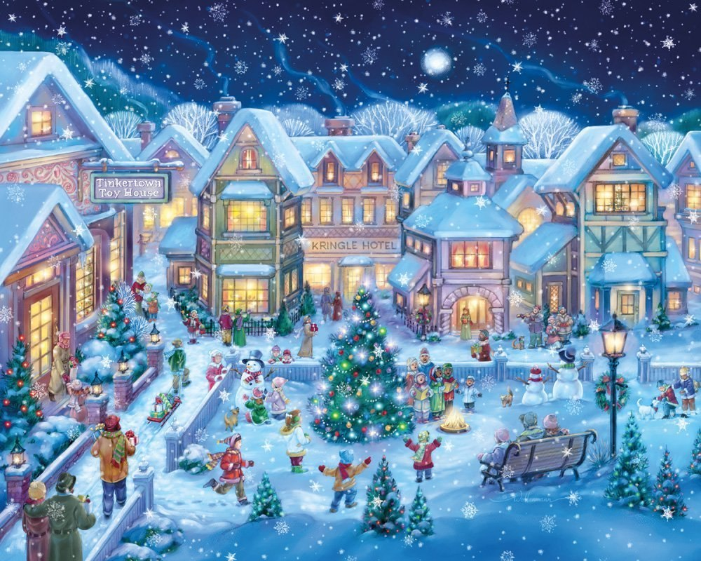 Holiday Village Square - 1000pc Jigsaw Puzzle By Vermont Christmas Company