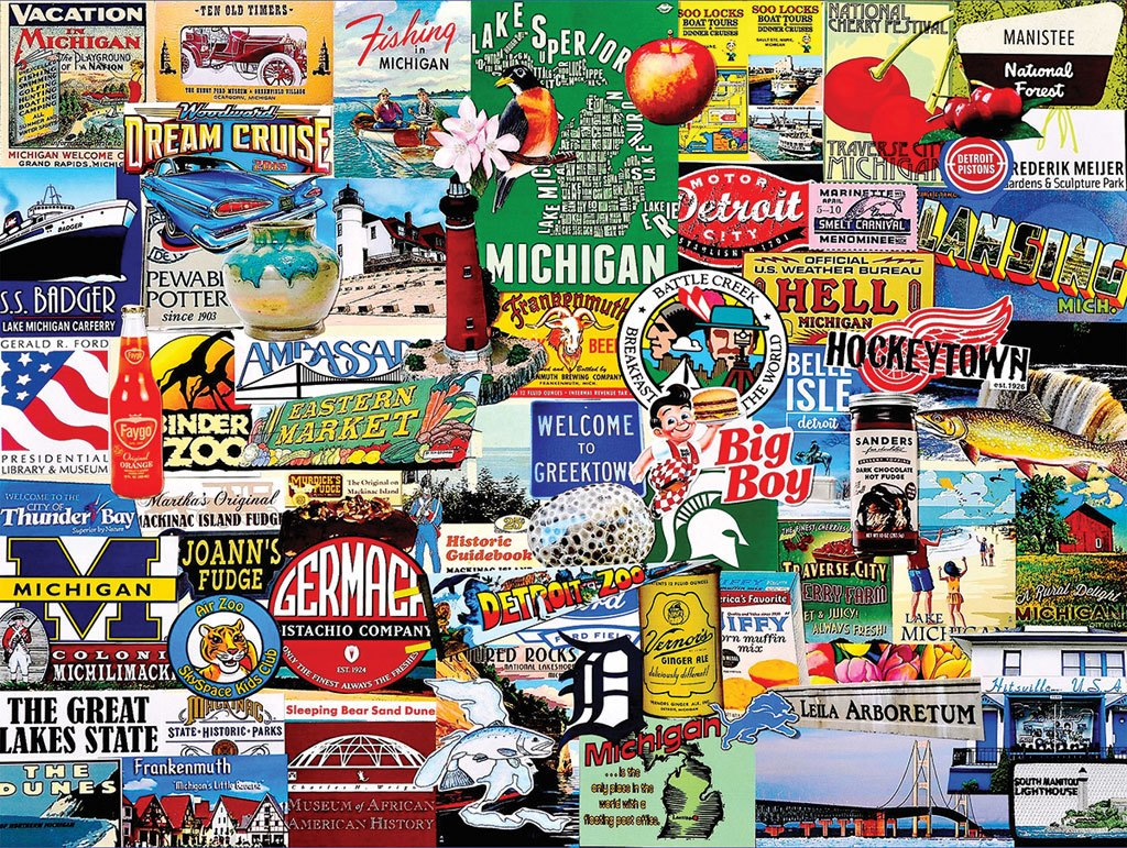 Michigan Collage - 1000pc Jigsaw Puzzle By White Mountain