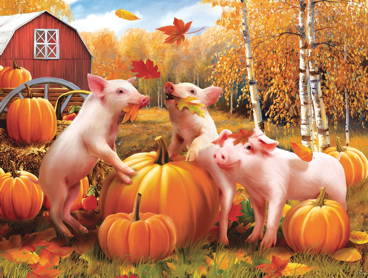 Pigs & Pumpkins - 300pc Jigsaw Puzzle by Sunsout  			  					NEW
