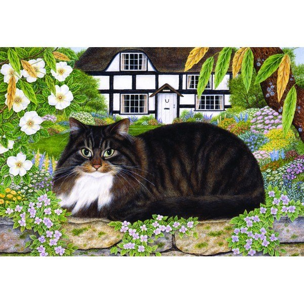 Country Cats: On The Garden Wall - 500pc Jigsaw Puzzle by Holdson