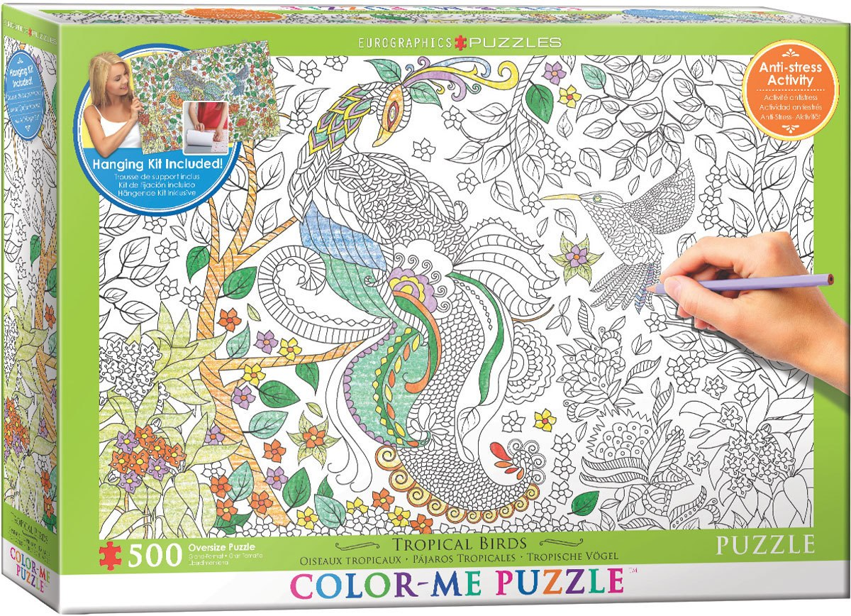 Color Me Puzzle: Tropical Birds - 500pc Color Yourself Jigsaw Puzzle by Eurographics