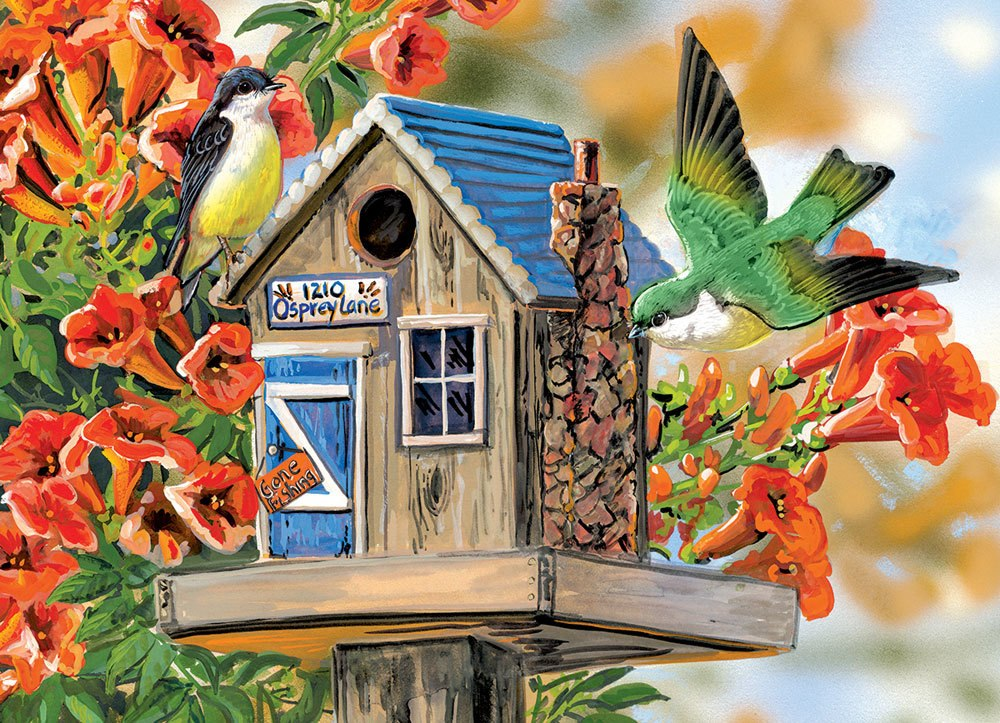 Trumpet Vines & Tree Sparrows - 300pc Large Format Jigsaw Puzzle by Eurographics