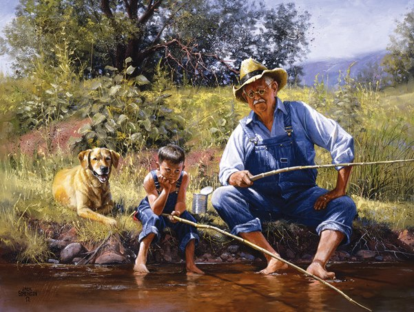 Fishing with Grandpa - 300pc Large Format Jigsaw Puzzle By Sunsout
