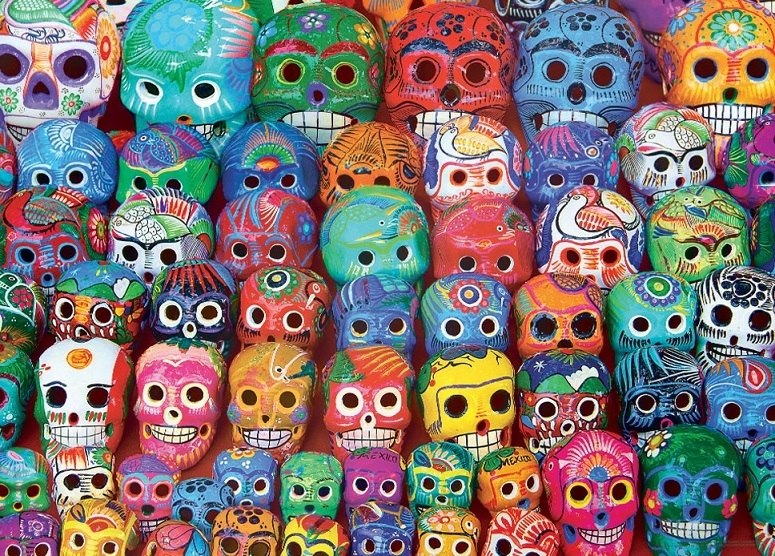 Traditional Mexican Skulls - 1000pc Jigsaw Puzzle by Eurographics  			  					NEW