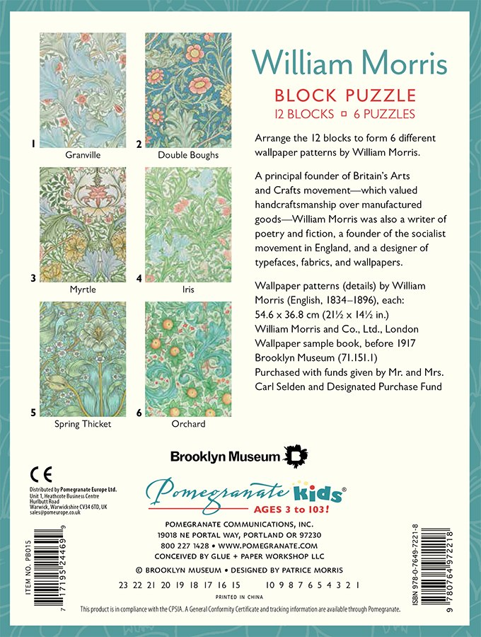 William Morris - 12pc Block Puzzle by Pomegranate  			  					NEW