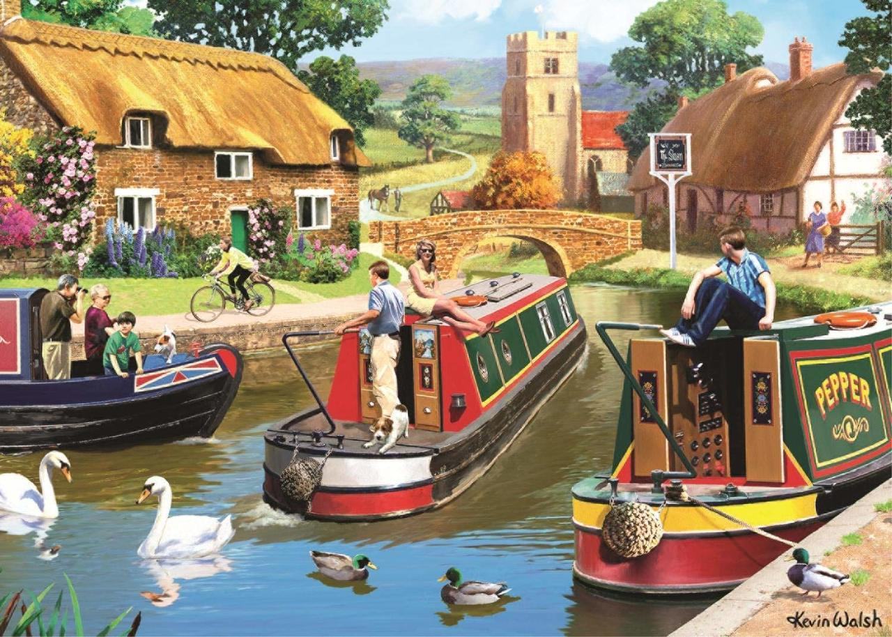 Busy Time on the Canal - 1000pc Jigsaw Puzzle By Falcon  			  					NEW