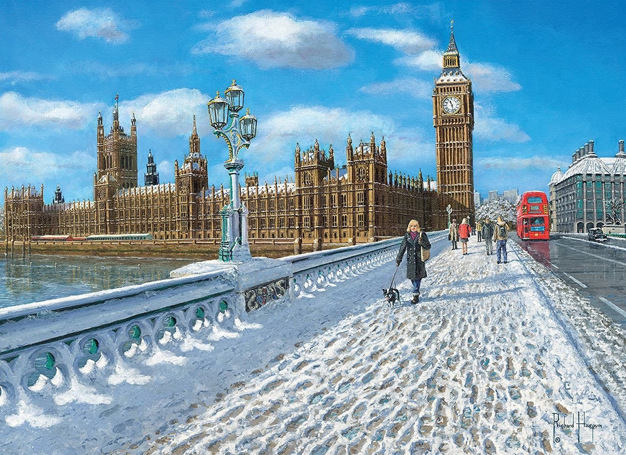 London Promenade in the Snow - 1000pc Jigsaw Puzzle by Clementoni