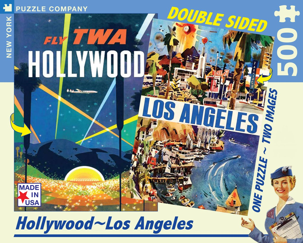 Los Angeles TWA - 500pc Double-Sided Jigsaw Puzzle by New York Puzzle Company