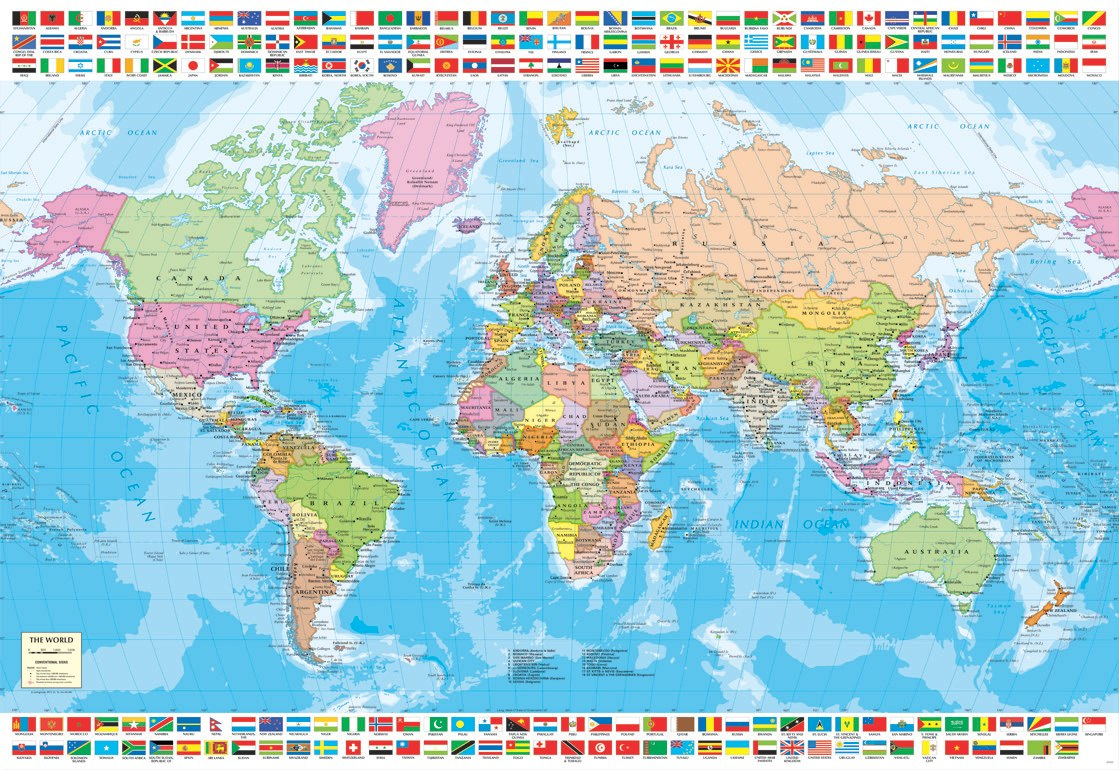 Political World Map - 1500pc Jigsaw Puzzle by Educa